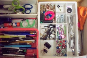 Junk drawer after organizing