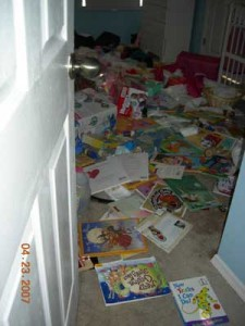 Messy child's bedroom
