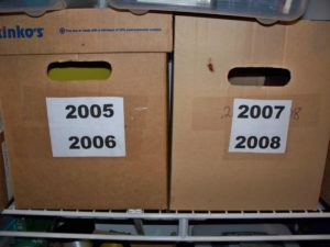 Year boxes for storing files